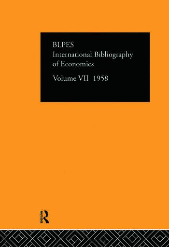 Intl Biblio Econom 1958 Vol 7 book cover