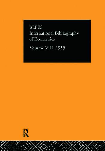 Intl Biblio Econom 1959 Vol 8 book cover