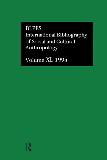 IBSS: Anthropology: 1994 Vol 40 book cover