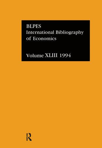 IBSS: Economics: 1994 Vol 43 book cover