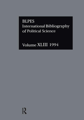 IBSS: Political Science: 1994 Vol 43 book cover
