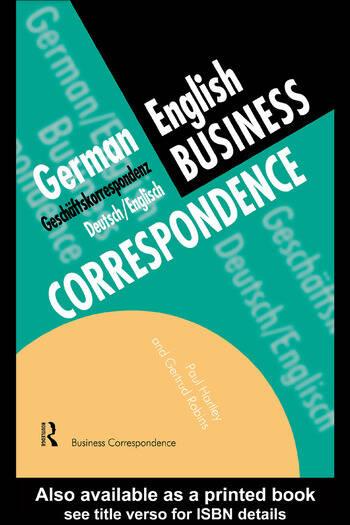 German/English Business Correspondence Geschaftskorrespondenz Deutsch/Englisch book cover
