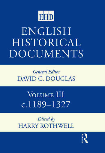 English Historical Documents Volume 3 1189-1327 book cover