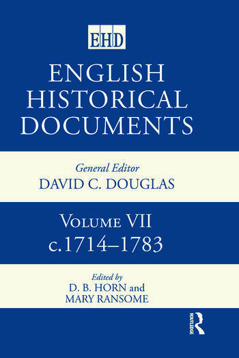 English Historical Documents Volume 7 1714-1783 book cover