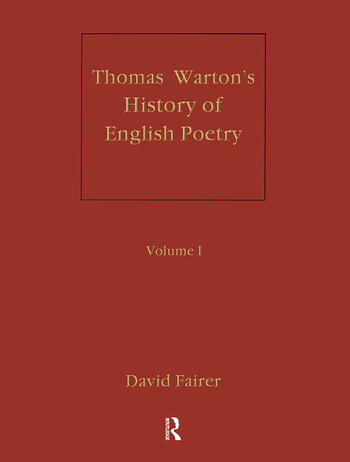 Warton's History of English Poetry book cover