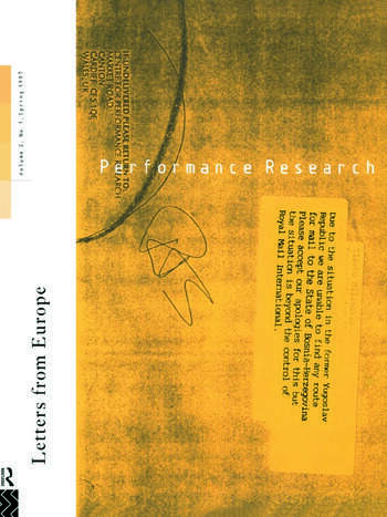 Performance Research: Letters from Europe book cover
