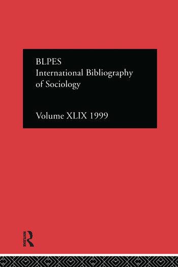 IBSS: Sociology: 1999 Vol.49 book cover