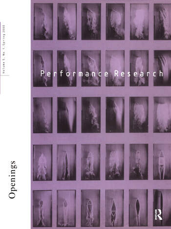 Performance Research V5 Issu 1 book cover