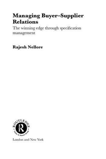 Managing Buyer-Supplier Relations The Winning Edge Through Specification Management book cover