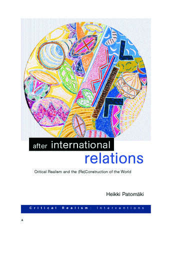 After International Relations Critical Realism and the (Re)Construction of World Politics book cover
