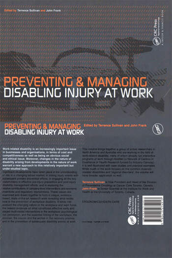 Preventing and Managing Disabling Injury at Work book cover