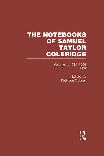 Coleridge Notebooks V1 Text book cover