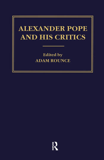 Alexander Pope and his Critics book cover