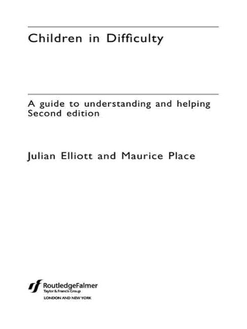 Children in Difficulty A guide to understanding and helping book cover
