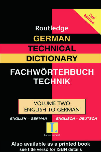 German Technical Dictionary (Volume 2) book cover