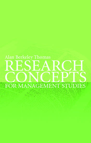 Research Concepts for Management Studies book cover