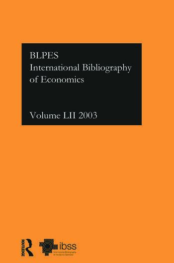 IBSS: Economics: 2003 Vol.52 book cover