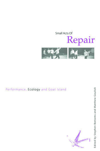 Small Acts of Repair Performance, Ecology and Goat Island book cover