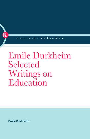 Emile Durkheim Selected Writings on Education book cover