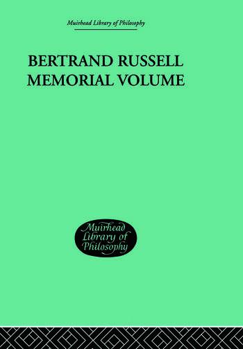 Bertrand Russell Memorial Volume book cover