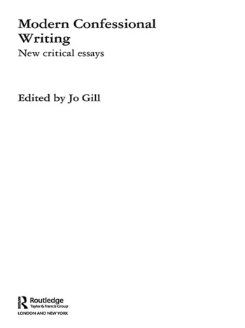 Modern Confessional Writing New Critical Essays book cover