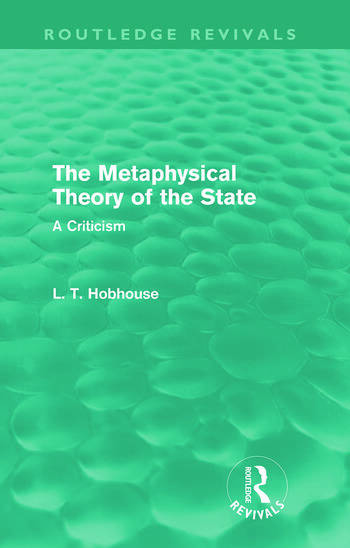 The Metaphysical Theory of the State (Routledge Revivals) book cover