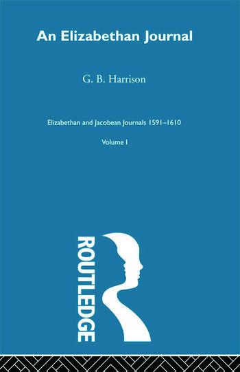 An Elizabethan Journal V1 book cover