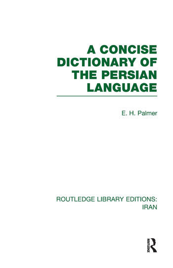 A Concise Dictionary of the Persian Language(RLE Iran B) book cover