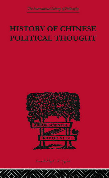 History of Chinese Political Thought During the Early Tsin Period book cover