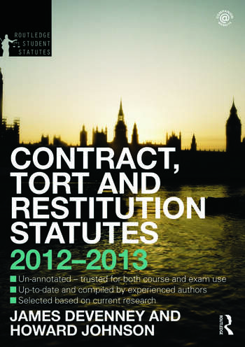 Contract, Tort and Restitution Statutes 2012-2013 book cover