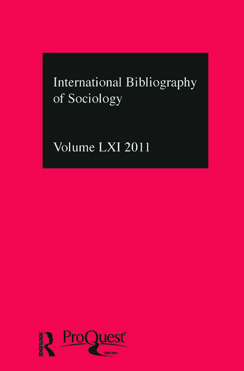 IBSS: Sociology: 2011 Vol.61 International Bibliography of the Social Sciences book cover