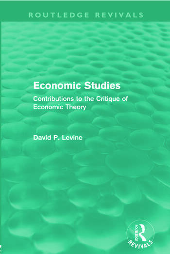Economic Studies (Routledge Revivals) Contributions to the Critique of Economic Theory book cover
