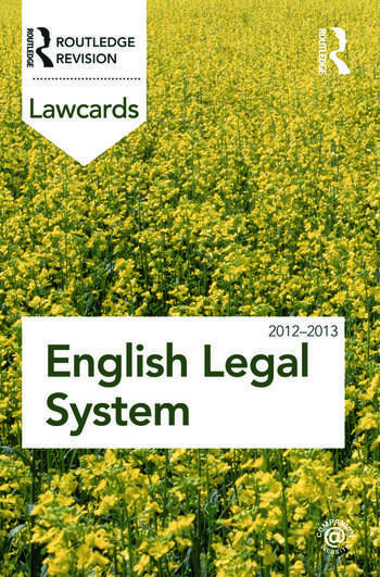English Legal System Lawcards 2012-2013 book cover