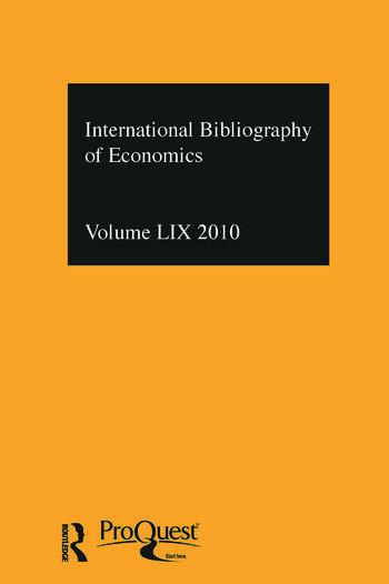 IBSS: Economics: 2010 Vol.59 International Bibliography of the Social Sciences book cover