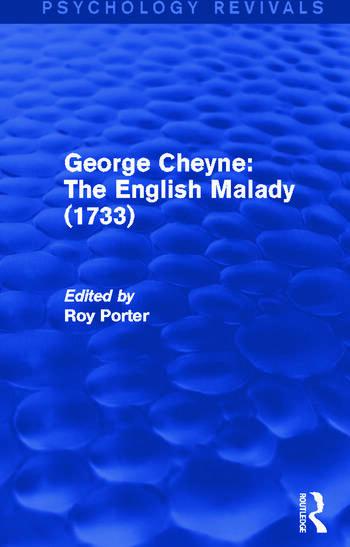 George Cheyne: The English Malady (1733) book cover