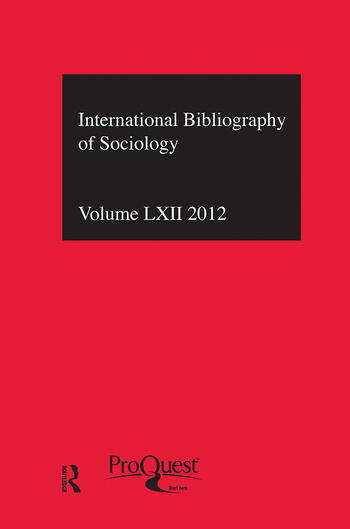 IBSS: Sociology: 2012 Vol.62 International Bibliography of the Social Sciences book cover