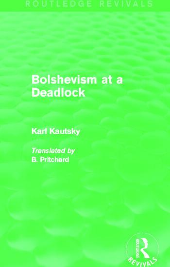 Bolshevism at a Deadlock (Routledge Revivals) book cover