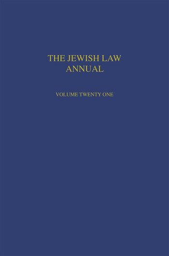 Jewish Law Annual Volume 21 book cover