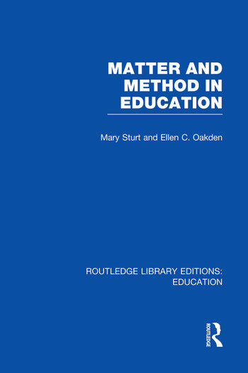 Matter and Method in Education book cover