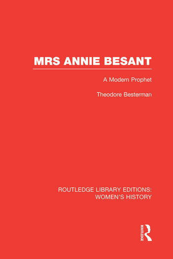 Mrs Annie Besant A Modern Prophet book cover