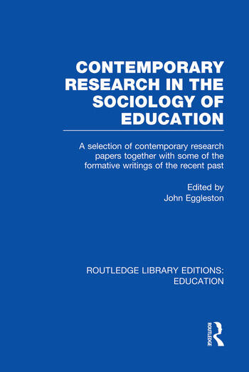 Contemporary Research in the Sociology of Education (RLE Edu L) book cover