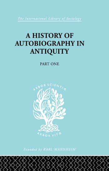 A History of autobiography in Antiquity Part 1 book cover