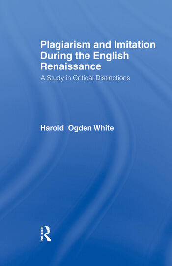 Plagiarism and Imitation Duri Cb A Study in Critical Distinctions book cover