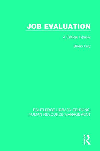 Job Evaluation A Critical Review book cover
