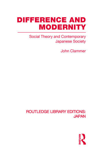 Difference and Modernity Social Theory and Contemporary Japanese Society book cover