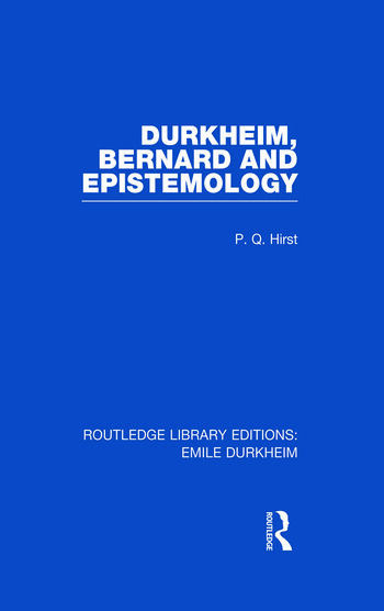 Durkheim, Bernard and Epistemology book cover