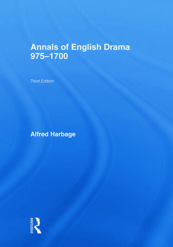 The Annals of English Drama 975-1700 book cover