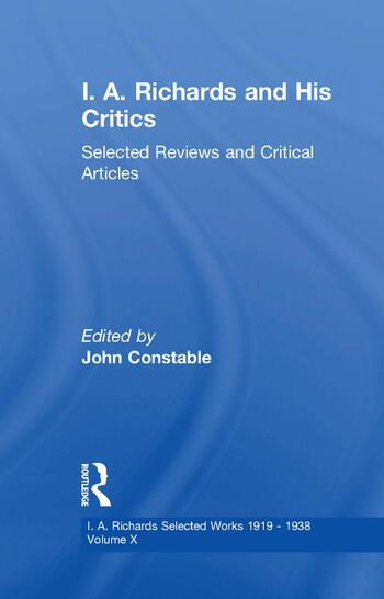 I A Richards & His Critics V10 book cover