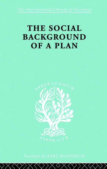 The Social Background of a Plan A Study of Middlesbrough book cover
