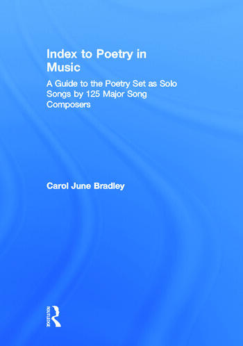 Index to Poetry in Music book cover